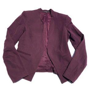 Theory Women's Burgundy Open Blazer Jacket Size 2